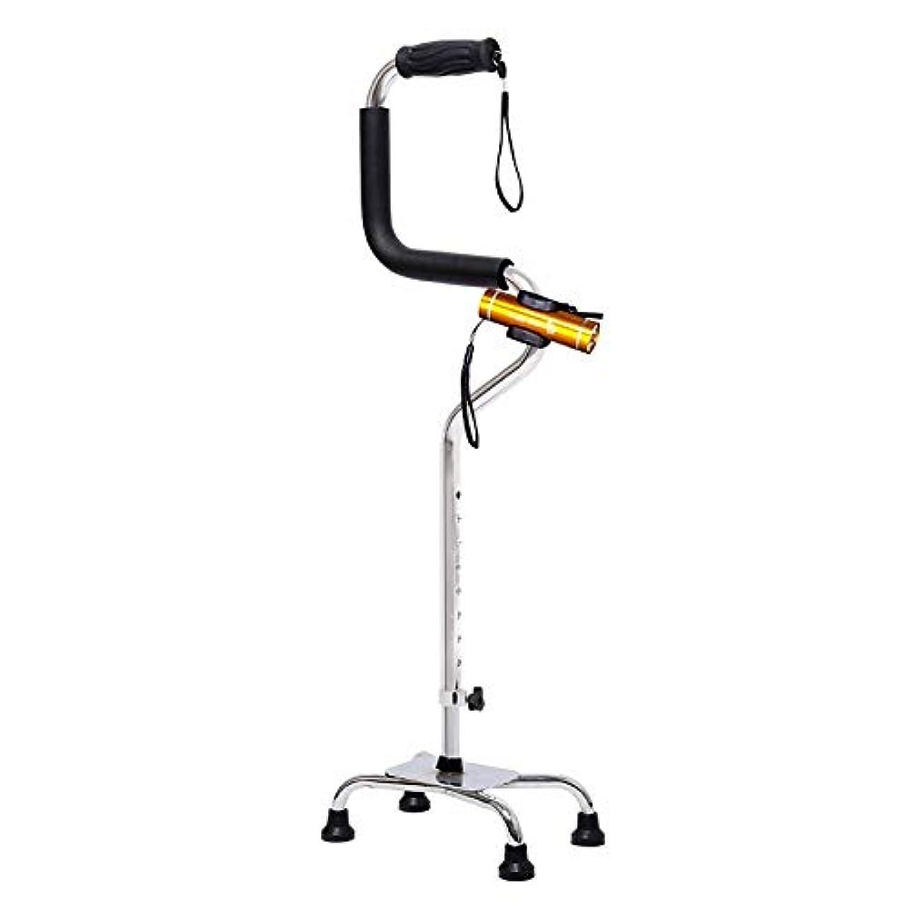 哲学博士フィールド経験的軽量ステッキ多機能照光式松葉杖高齢者伸縮自在歩行器 (Color : 銀, Size : Withlight)