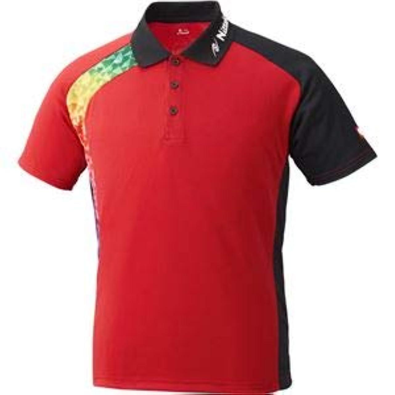分布社会科ダンスニッタク(Nittaku)卓球アパレル BUMERAN SHIRT(ブメランシャツ)ゲームシャツ(男女兼用 )NW2178 レッド 3S