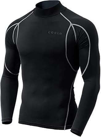 (テスラ)TESLA 長袖ハイネック スポーツシャツ [UVカット・吸汗速乾] コンプレッションウェア パワーストレッチ アンダーウェア MUT12-KLG_2XL