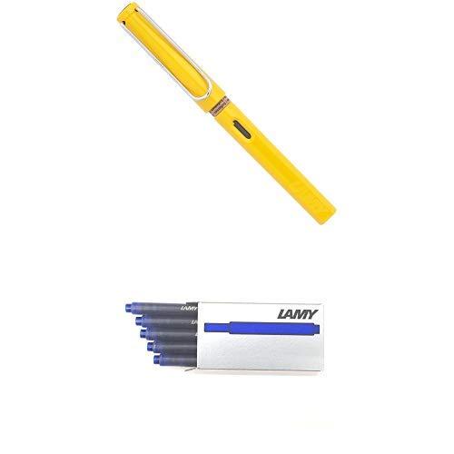 LAMY ラミー 万年筆 ペン先EF(極細字) サファリ イエロー L18-EF 両用式 コンバーター別売 正規輸入品+LAMY ラミー カートリッジインク ブルー LT10BL 20箱セット 正規輸入品