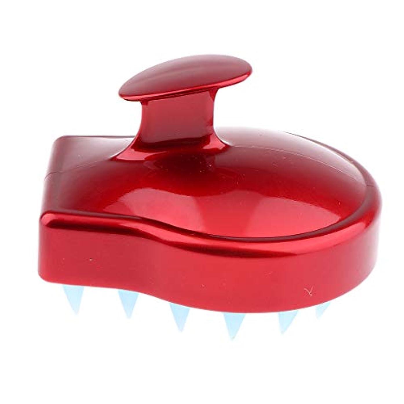 傾くコードレス入手します洗髪ブラシ シャンプーシャワーブラシ ソフトシリコン 頭皮マッサージ 赤い