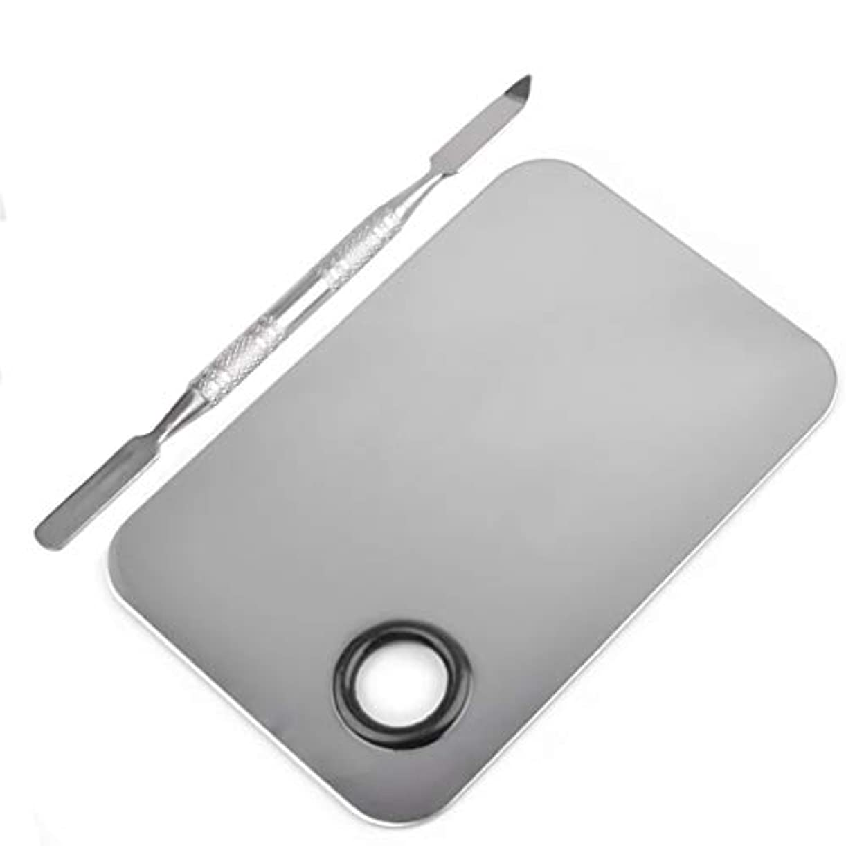異議ランデブーしなやか長方形の形のステンレス鋼化粧品メイクアップパレットへらツールセットネイルアート機器ツールキット美容ツール(シルバー)
