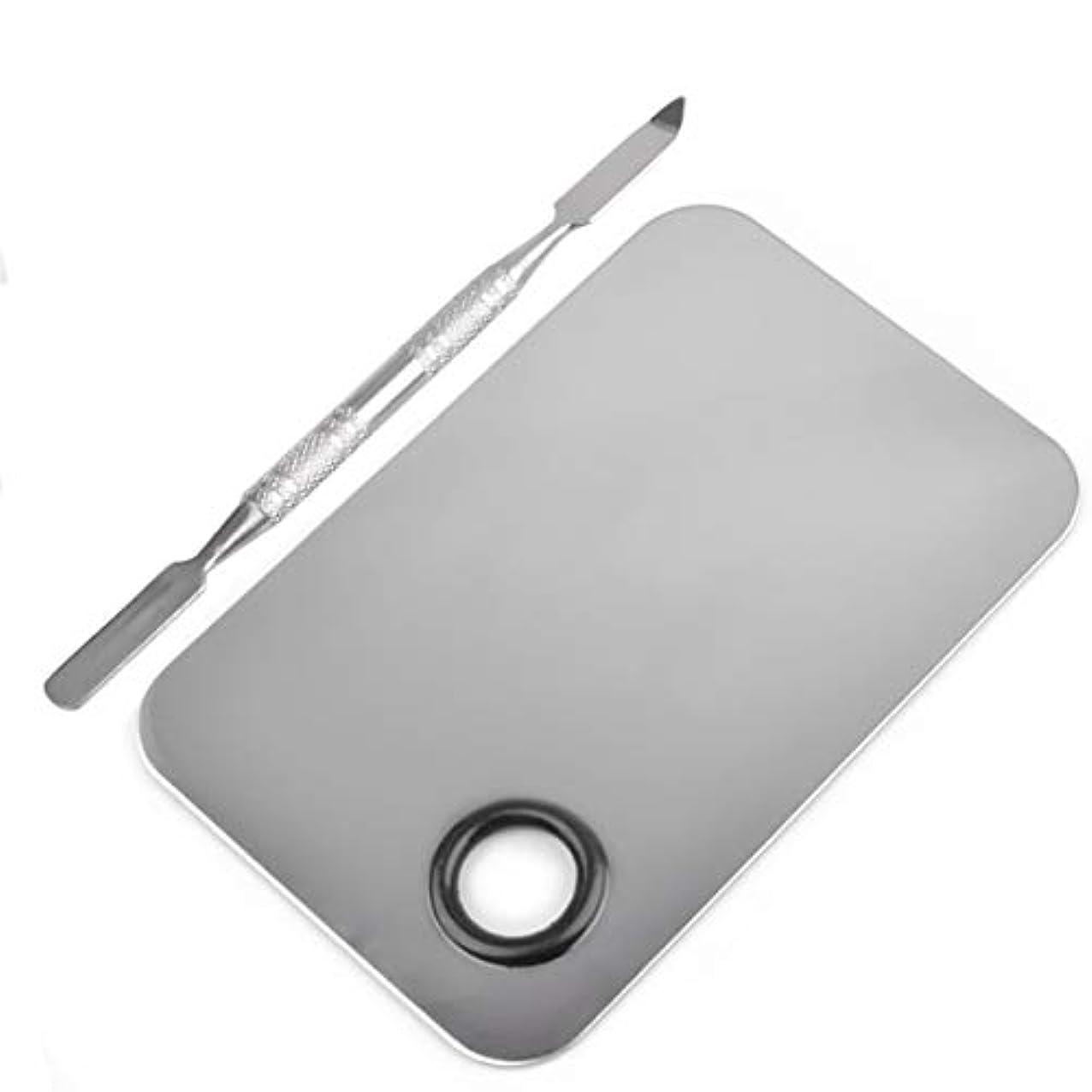 わずらわしいめったに四長方形の形のステンレス鋼化粧品メイクアップパレットへらツールセットネイルアート機器ツールキット美容ツール(シルバー)