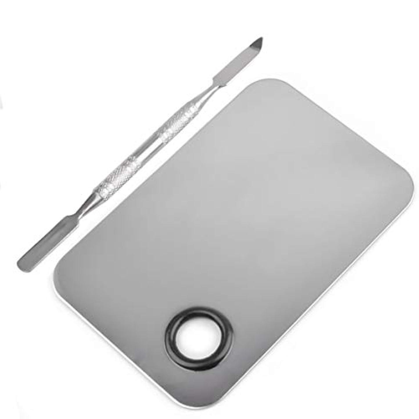 長方形の形のステンレス鋼化粧品メイクアップパレットへらツールセットネイルアート機器ツールキット美容ツール(シルバー)