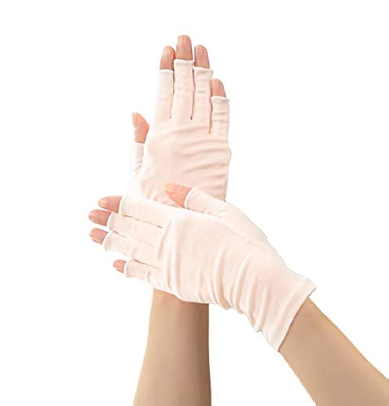 製品最少柔らかいSilk 100% シルク 手袋 指先カット タイプ 薄手 オールシーズンOK 外出時の 紫外線 UV 対策 スマホ PC 操作 や ICカード 取り出しもらくらく! 手首 ゆったり おやすみ フィンガーレス スキンケア...