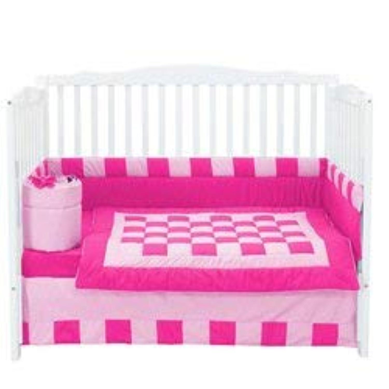 Baby Doll Bedding 4 Piece Patchwork Perfection Crib Bedding Set Fuji/Pink [並行輸入品]