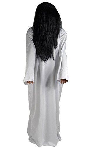 【ハロウィン コスチューム】2点セット かつら ワンピ 幽霊 貞子 コスプレ衣装 仮装 フリーサイズ