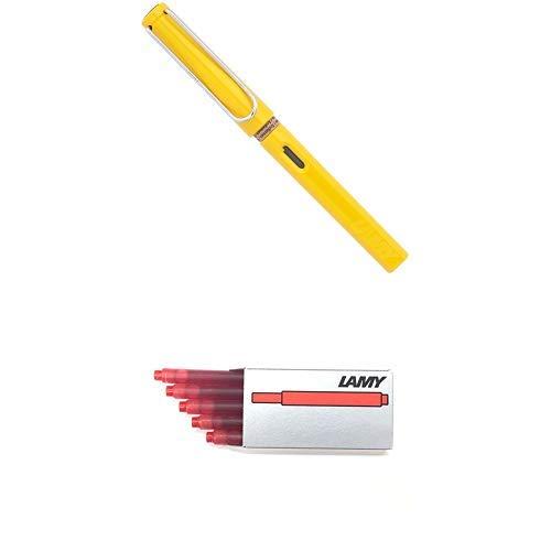 LAMY ラミー 万年筆 ペン先EF(極細字) サファリ イエロー L18-EF 両用式 コンバーター別売 正規輸入品+LAMY ラミー カートリッジインク レッド LT10RD 20箱セット 正規輸入品