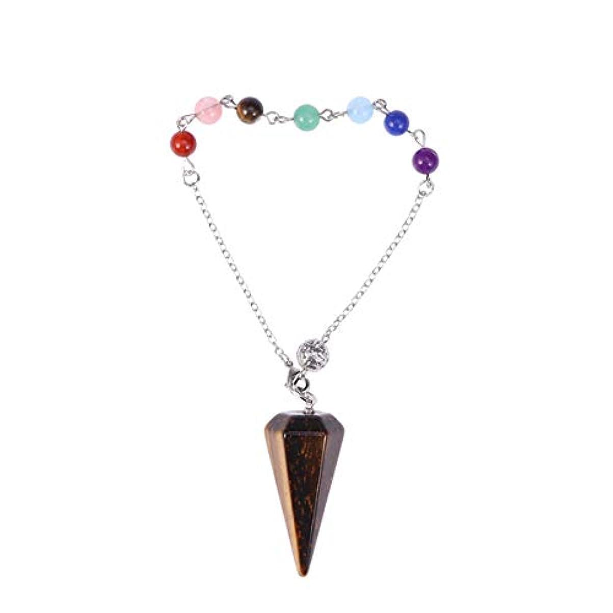 着実に開業医技術者Healifty ヒーリングクリスタルポイントペンダントネックレス六角形の尖ったレイキチャクラジュエリー(タイガーアイ宝石)