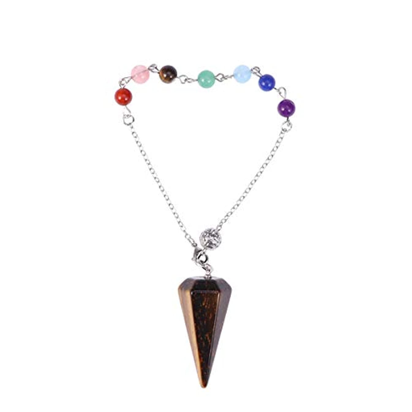 波平和的おしゃれなHealifty ヒーリングクリスタルポイントペンダントネックレス六角形の尖ったレイキチャクラジュエリー(タイガーアイ宝石)