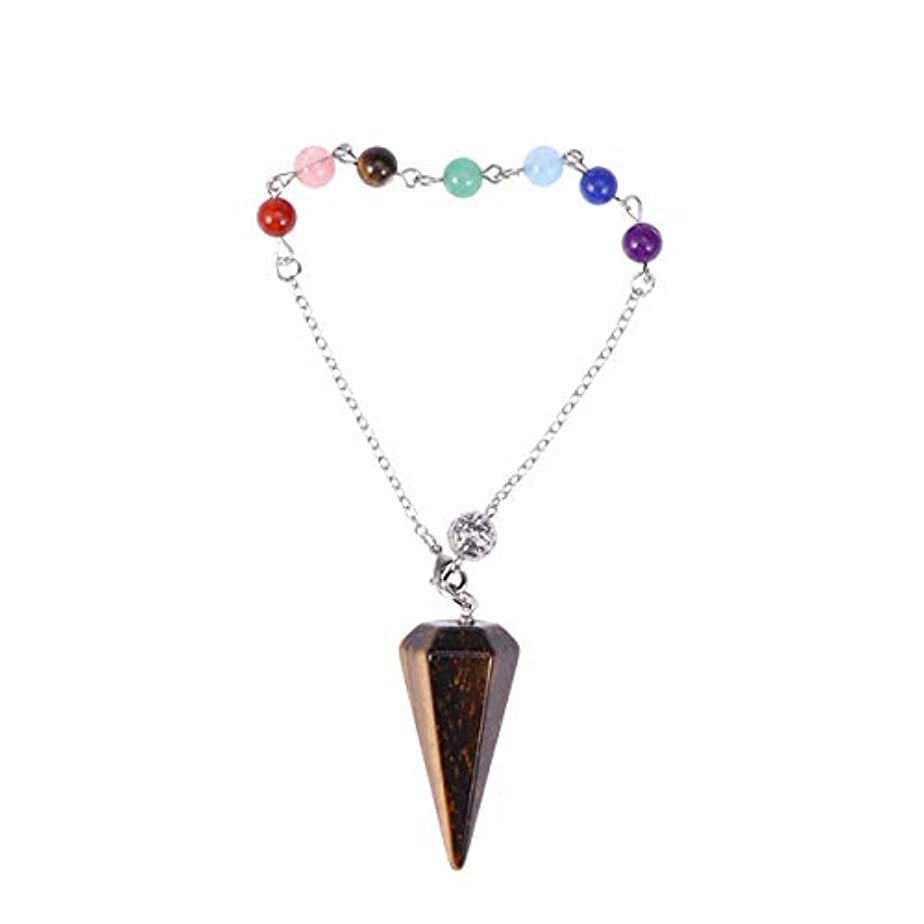 顔料炎上等価Healifty クリスタル六角形のペンダントチャクラチェーンペンダント(タイガーアイ宝石)