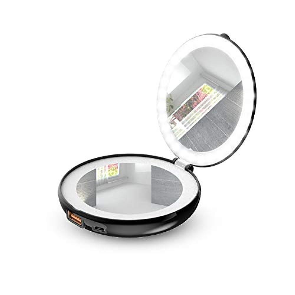 健康的ラジカルマインドフル手鏡 折り畳み式化粧鏡 メイクアップミラー LEDライト&モバイルバッテリー付き (ブラック)