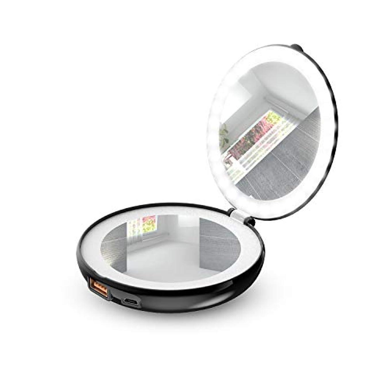 迷信素子儀式手鏡 折り畳み式化粧鏡 メイクアップミラー LEDライト&モバイルバッテリー付き (ブラック)