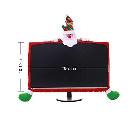 LOHOME Christmas Computer Monitor Cover 3D Cartoon Computer Case 19-27inch Non-Woven Screen Border Protector Christmas Decoration (Santa Claus)