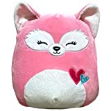 "Valentines Squishmallow 8"" Flora The Fox Pink Cuddly Pillow Plush Animal Glitter Belly"