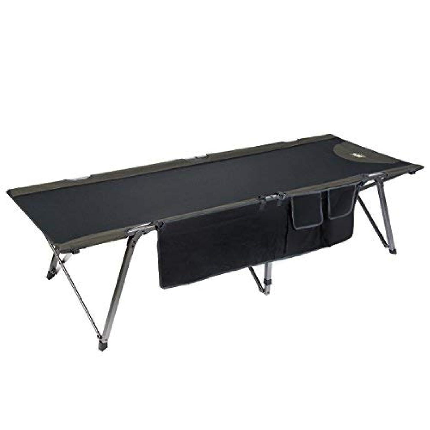 アンドリューハリディ性交重力Timber Ridge Utility Folding XL Camping Cot Portable Deluxe Bed with Carry Bag, Black [並行輸入品]