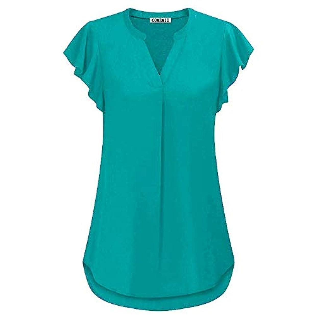 こっそり控えめな連合MIFAN女性ブラウス、シフォンブラウス、カジュアルTシャツ、ゆったりしたTシャツ、夏用トップス、シフォンシャツ、半袖、プラスサイズのファッション