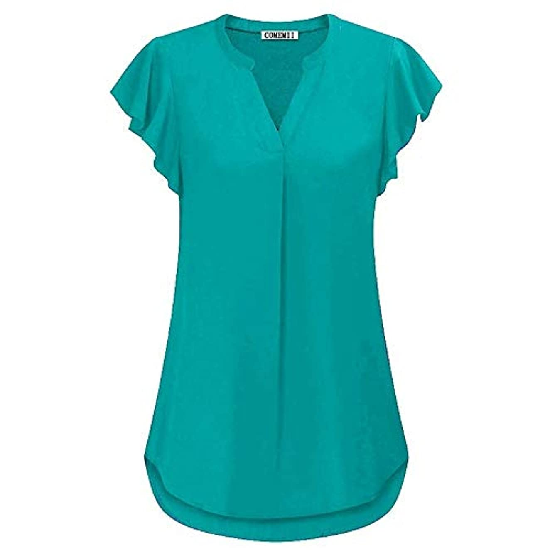たまに広告する売上高MIFAN女性ブラウス、シフォンブラウス、カジュアルTシャツ、ゆったりしたTシャツ、夏用トップス、シフォンシャツ、半袖、プラスサイズのファッション