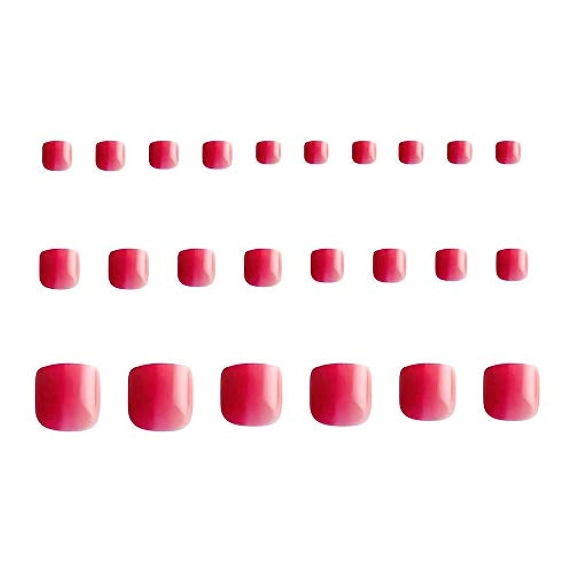 ギャング不均一フィット24枚 グラデーション 短い 四角形 フルカバー ネイルチップ 足の爪 ピンク