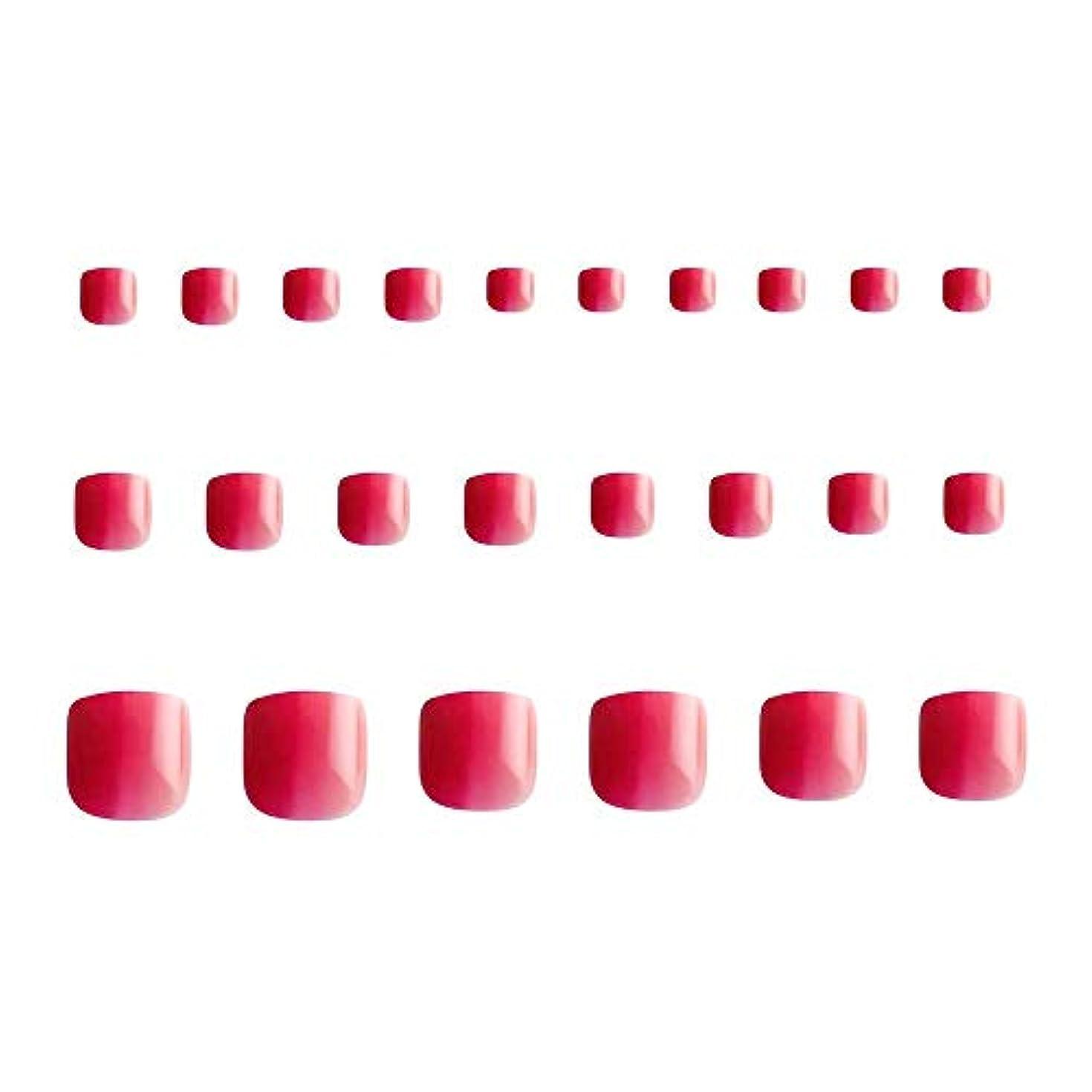 テレビ偽失礼な24枚 グラデーション 短い 四角形 フルカバー ネイルチップ 足の爪 ピンク