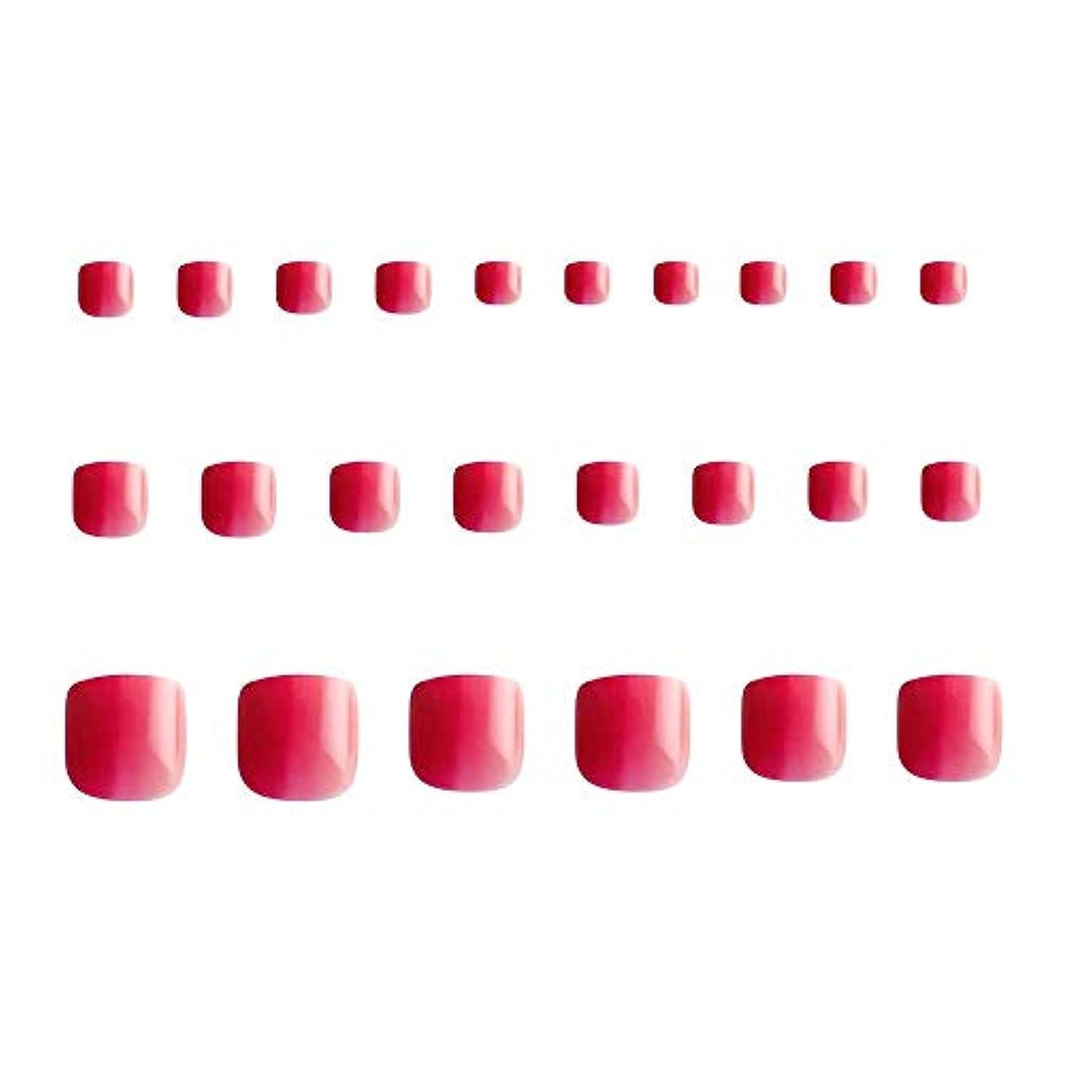 ジョージハンブリー危機句24枚 グラデーション 短い 四角形 フルカバー ネイルチップ 足の爪 ピンク