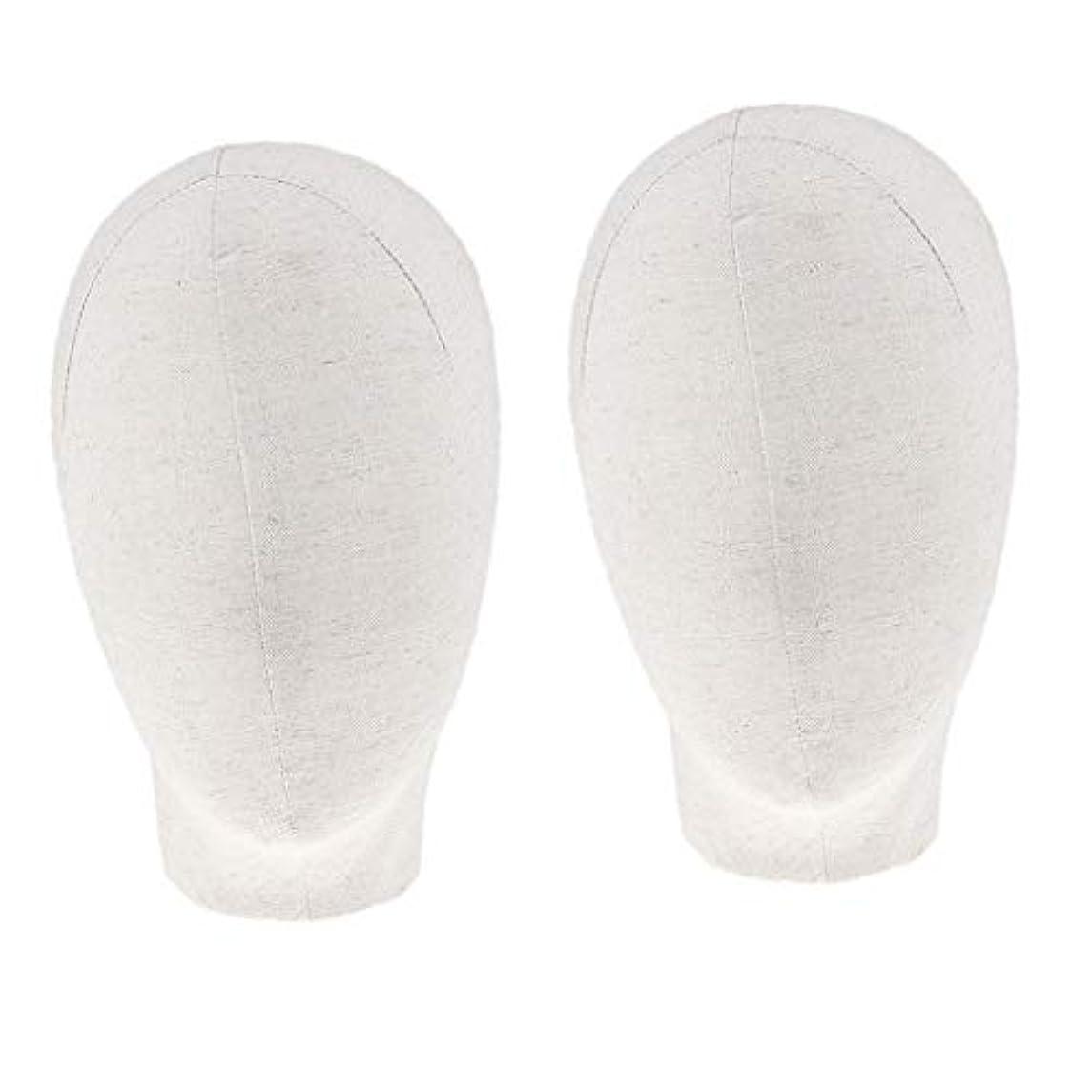 湿度喪意味するDYNWAVE マネキンヘッド キャンバスブロック 21インチ かつら 帽子 メガネ ディスプレイ ホルダー