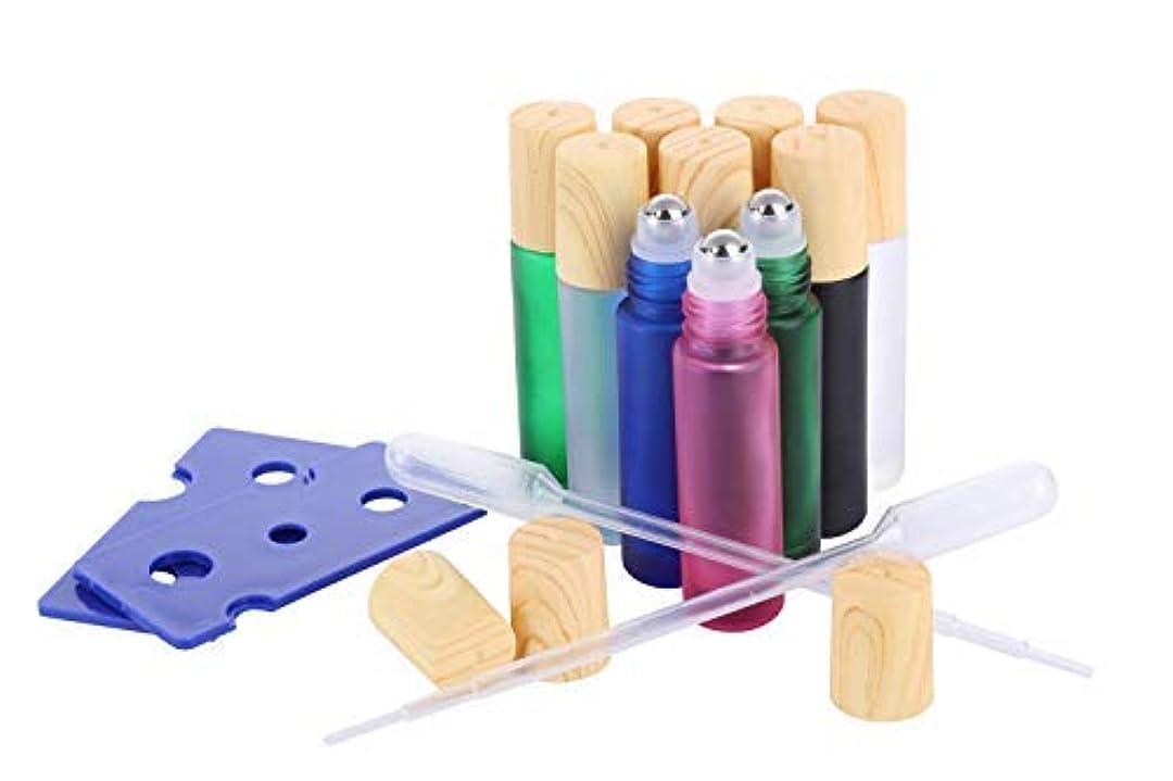 スペクトラムショットキャプテンEssential Oil Roller Bottles, (10 Pack 5 colors Glass Roller Bottles 10ml, Wood grain Cap, 2 Dropper, 2 Opener...