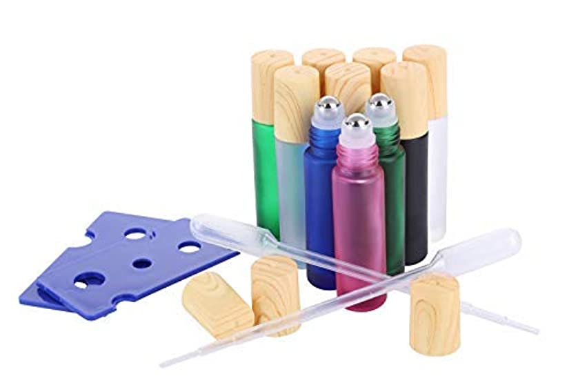Essential Oil Roller Bottles, (10 Pack 5 colors Glass Roller Bottles 10ml, Wood grain Cap, 2 Dropper, 2 Opener...