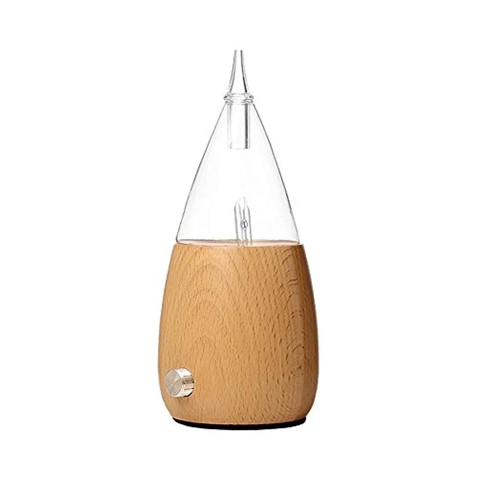 ペダル保守的必要とするWaterless Essential Oil Nebulizer with Fast Difussion、超音波アロマテラピーFragrant Oil Vaporizer加湿器、自然と芸術的夜ライトギフトfor Friends in木製とガラス