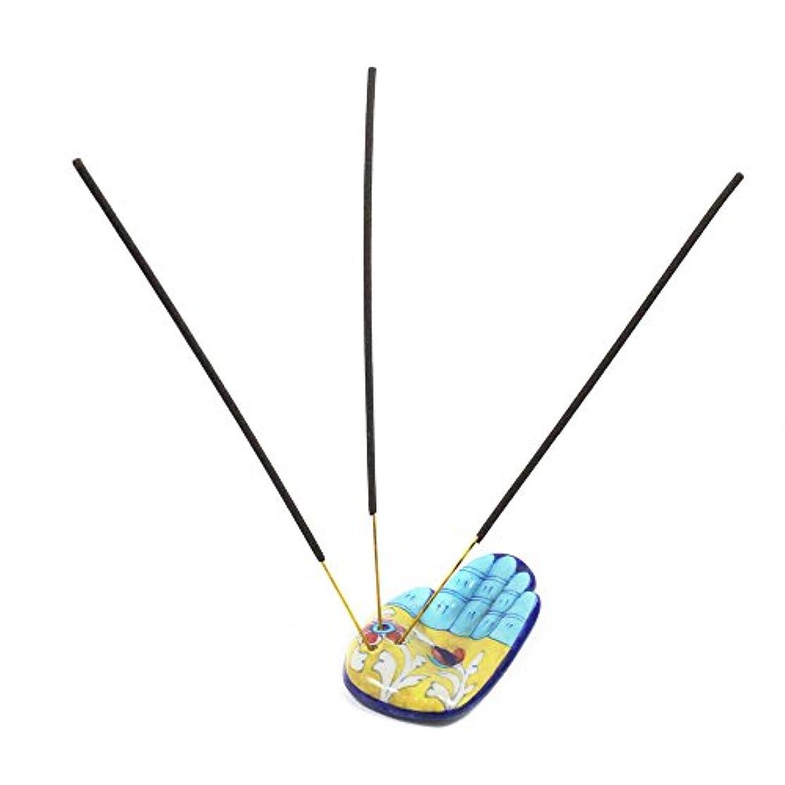 算術悪用余計な青い陶器手作り装飾セラミック香りスタンド/アガルバッティスタンド/セラミックトライバルDhoop Daan /セラミックAgarbattiスタンド/ Dhoop Battiスタンドホルダー/セラミック香箱スタンド数量1