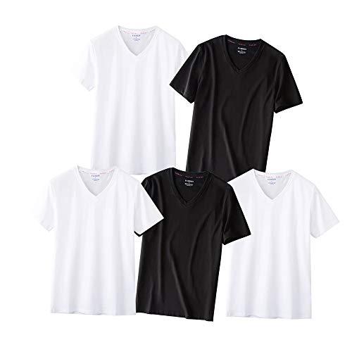 Daycloth Tシャツ メンズ 半袖 インナーシャツ 無地 綿100% 5枚組 Vネック 白 黒 カジュアル 夏服 肌着 下着 (Large, 3白2黑)