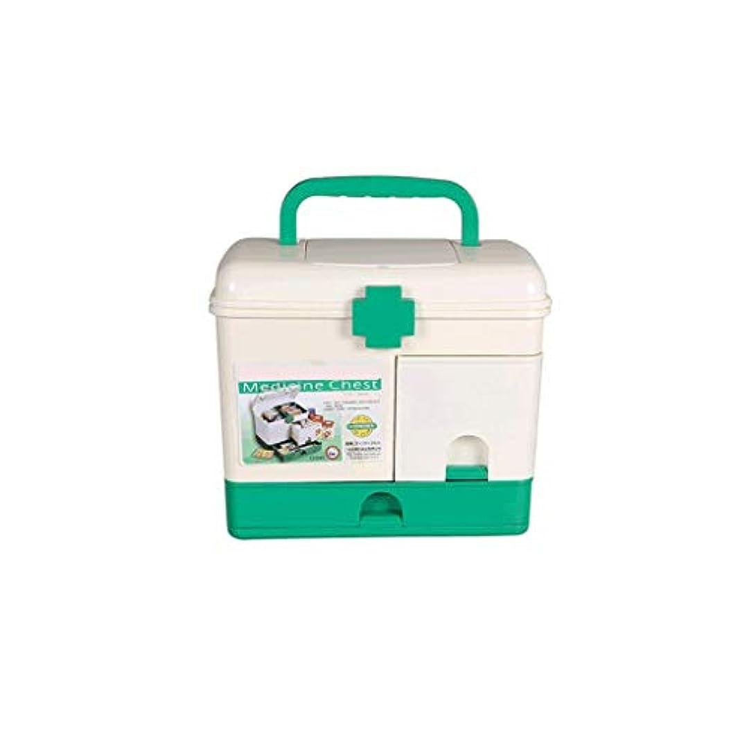ポンプ自発健全家庭用薬箱プラスチック大型応急処置箱多層医療箱携帯用薬収納ボックス CQQO (Color : White)