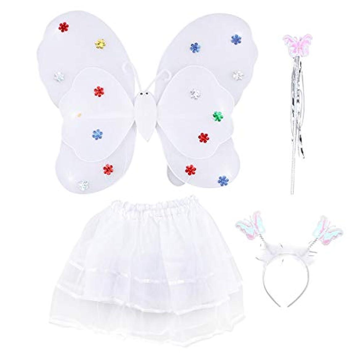 繁雑より食事を調理するAmosfun 4ピース女の子の妖精の王女の衣装セットLEDライトアップバタフライウィングワンドヘッドバンドチュチュスカート女の子のための子供子供(白)