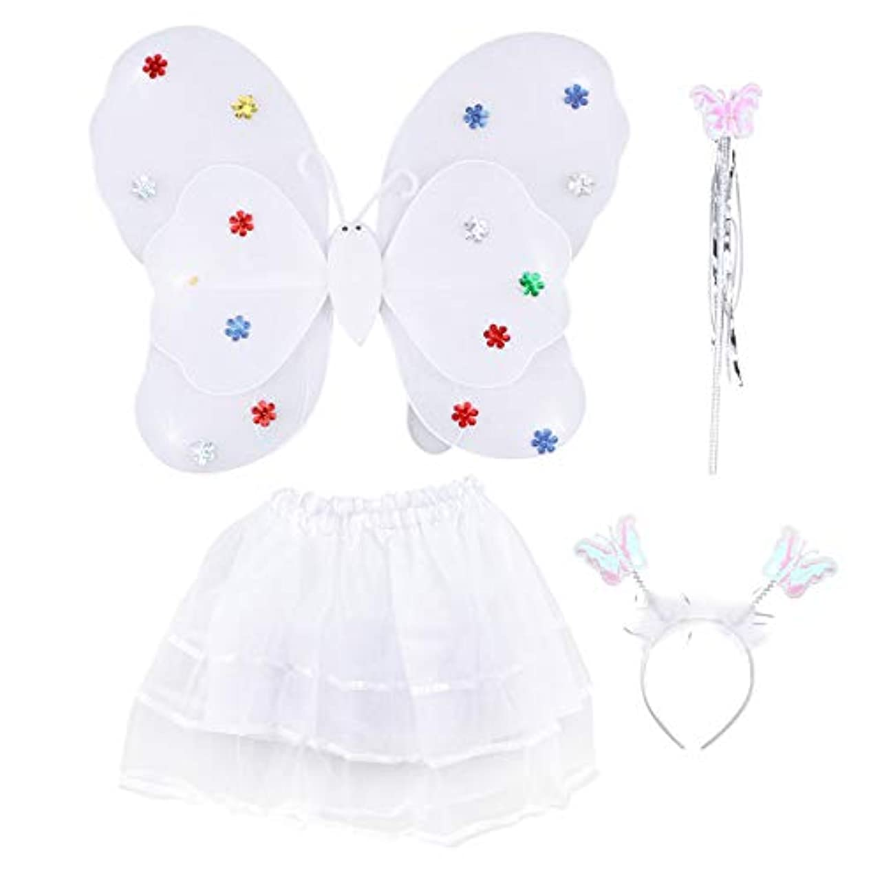 降雨仕出します審判Amosfun 4ピース女の子の妖精の王女の衣装セットLEDライトアップバタフライウィングワンドヘッドバンドチュチュスカート女の子のための子供子供(白)