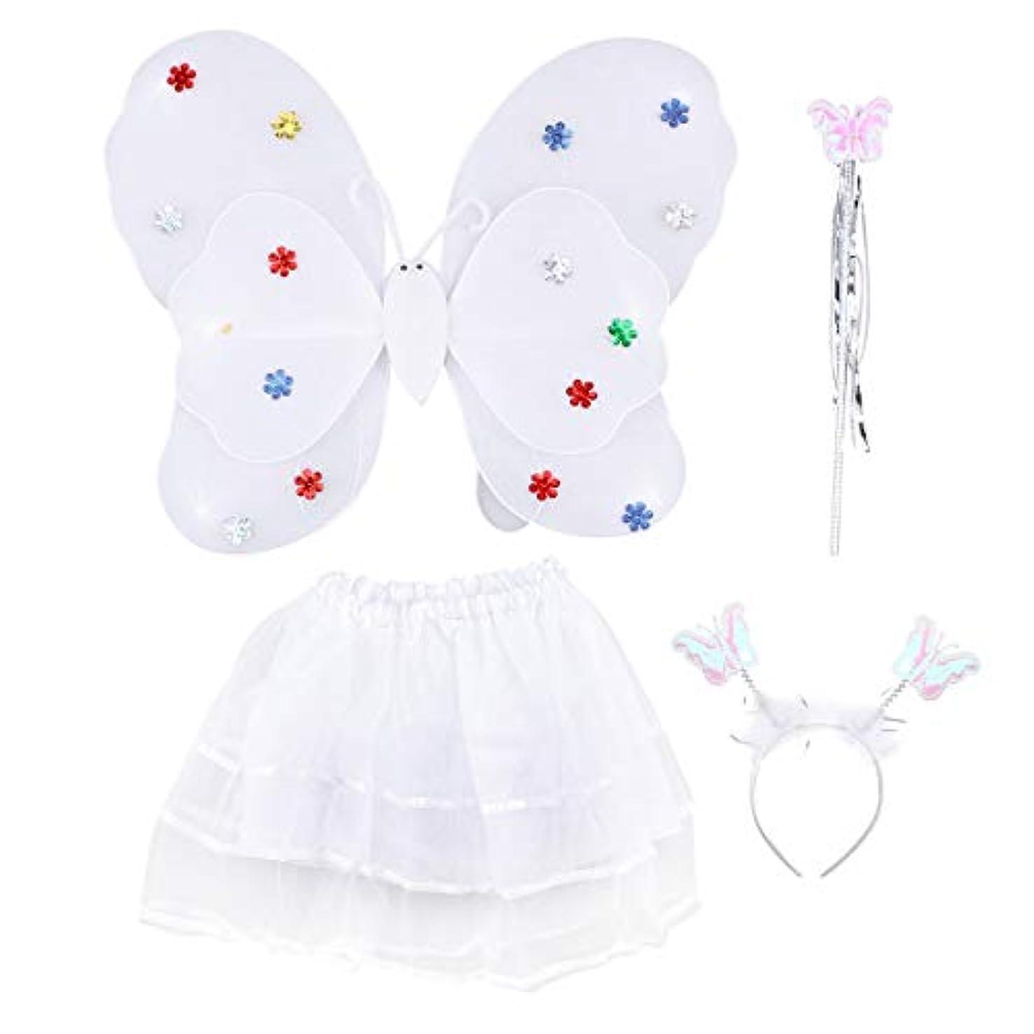配当取得みなすAmosfun 4ピース女の子の妖精の王女の衣装セットLEDライトアップバタフライウィングワンドヘッドバンドチュチュスカート女の子のための子供子供(白)