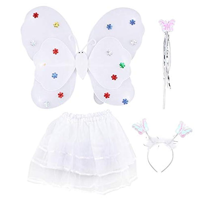 額閲覧するモニカAmosfun 4ピース女の子の妖精の王女の衣装セットLEDライトアップバタフライウィングワンドヘッドバンドチュチュスカート女の子のための子供子供(白)