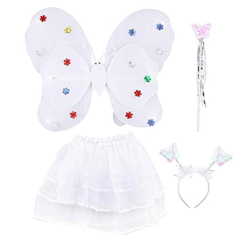 変形モールス信号相手Amosfun 4ピース女の子の妖精の王女の衣装セットLEDライトアップバタフライウィングワンドヘッドバンドチュチュスカート女の子のための子供子供(白)