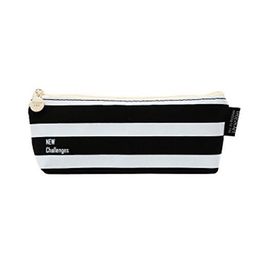 [ MT On&Do ] ペンケース 筆箱 ペン入れ モノトーン 白黒 収納 小物 筆記用具 オールマイティ ロゴ ボーダー シック 大人 かっこいい (ボーダー)