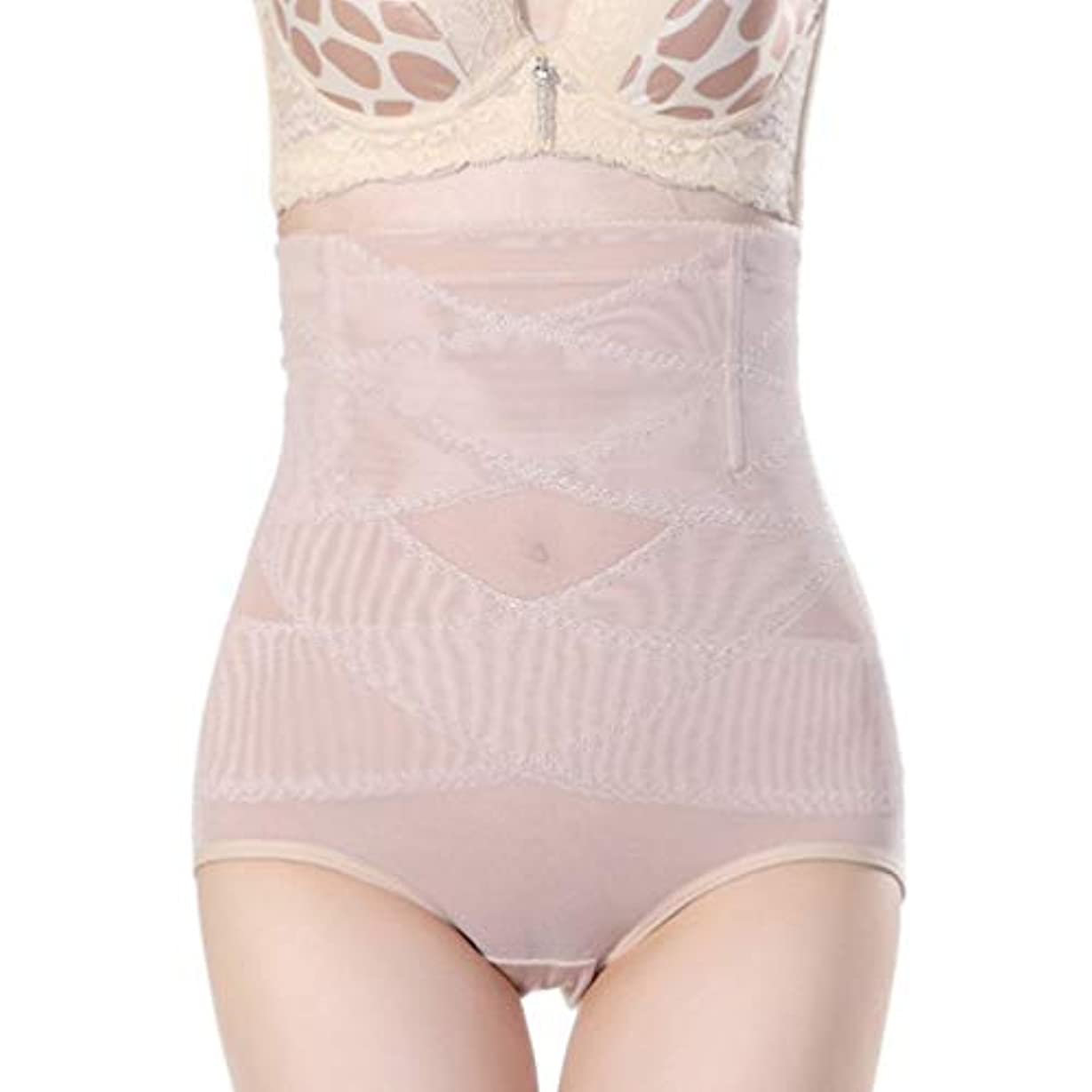 バランスデザートキャスト腹部制御下着シームレスおなかコントロールパンティーバットリフターボディシェイパーを痩身通気性のハイウエストの女性 - 肌色M