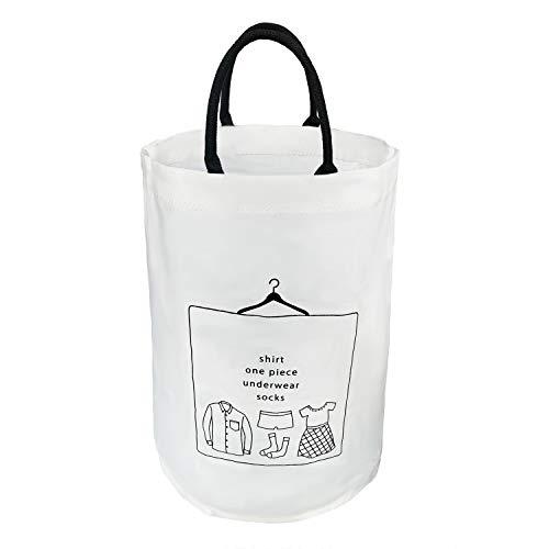 洗濯かご ランドリーバスケット 取って付き 撥水 大容量 折り畳み式 綿麻生地 収納ボックス 軽量 省スペース KIGARU(キガル) (51L ホワイト)