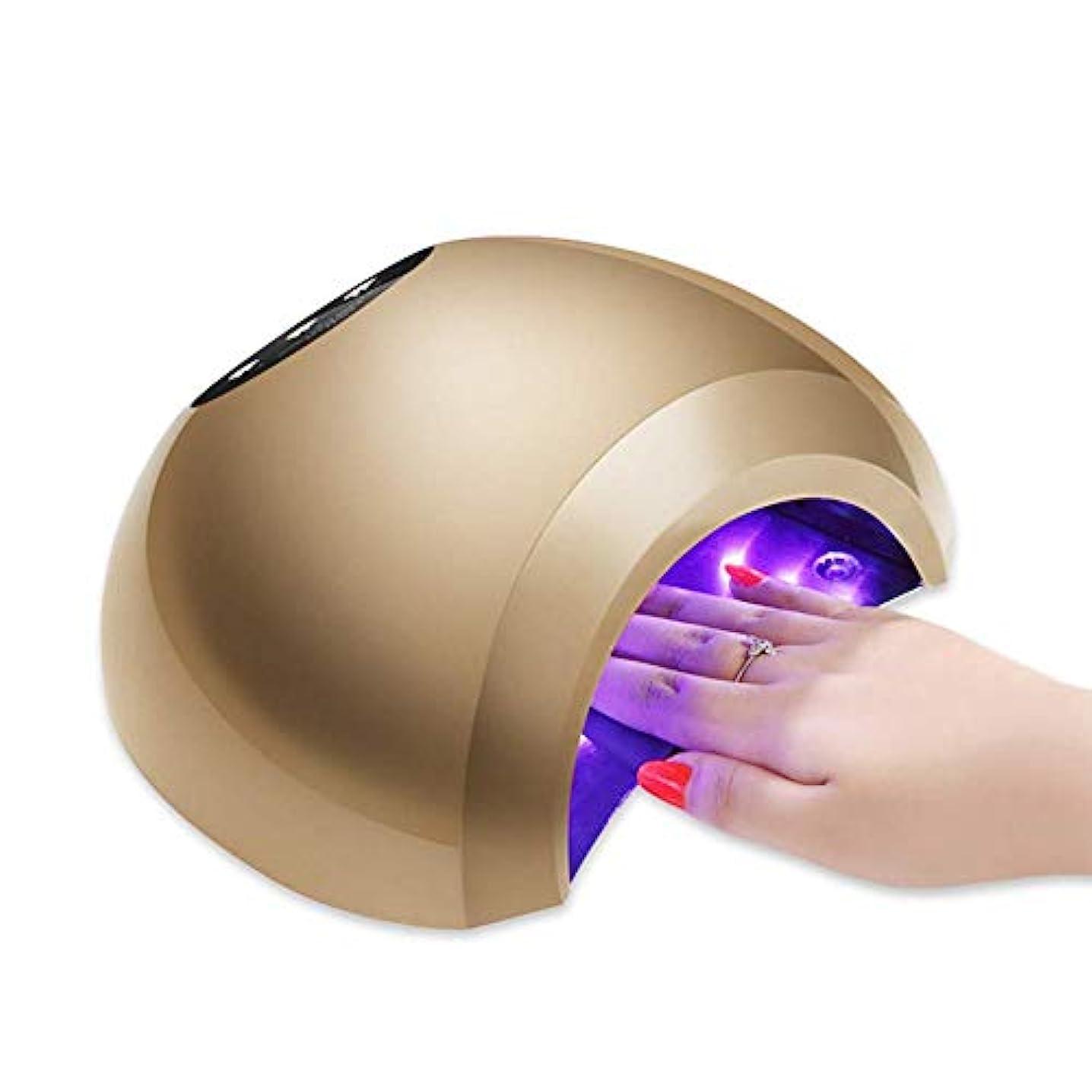露カバートランスペアレントLed uvネイルドライヤー48ワット3モードプロフェッショナル液晶ディスプレイ赤外線センシングジェルポリッシュランプ光硬化マニキュア機、ゴールド