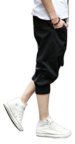 (NAIL39) ハーフパンツ メンズ 七分丈 スタイリッシュ カジュアル 大きいサイズ シンプル快適 通勤 ハーレムパンツ カーゴパンツ スリム 春 夏 秋 (ブラック 黒、L)