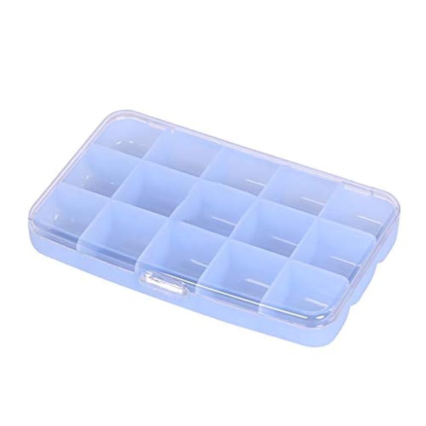 ボトルネックかもめの家庭用ピルボックス1週間のピルボックスクリエイティブ小さなピルボックスサブパッケージプラスチック7日間ポータブルボックス収納ボックスマルチグリッド LIUXIN (Color : Blue, Size : 15.2cm×...