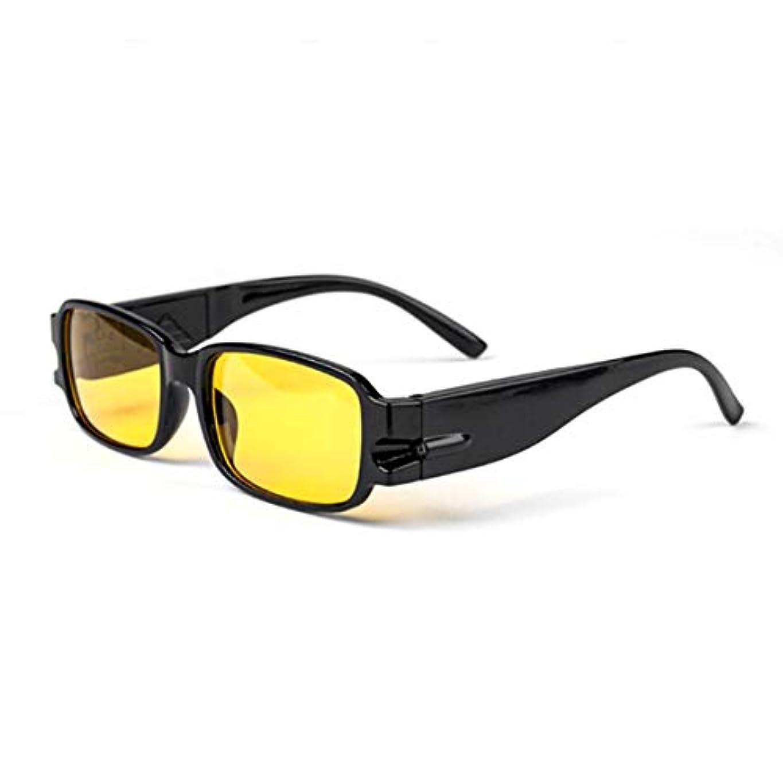 糸承認フィットネス普遍的な男性女性老眼鏡磁気療法樹脂レンズ老視メガネ眼鏡メガネLEDライト付き-黄色150度
