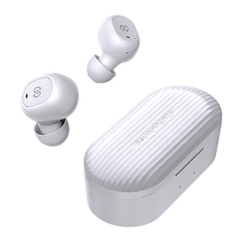 SoundPEATS(サウンドピーツ) TrueFree+ ワイヤレスイヤホン Bluetooth 5.0 完全ワイヤレス イヤホン AAC対応 35時間連続再生 自動ペアリング 左右独立型 マイク内蔵 両耳通話 防水 小型 軽量 TWS ブルートゥース ヘッドホン トゥルーワイヤレス ヘッドセット [メーカー1年保証] (ホワイト)