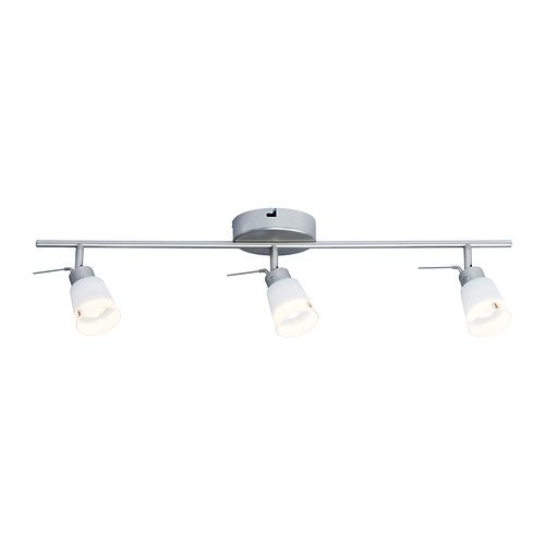 RoomClip商品情報 - IKEA BASISK 10262586 シーリングトラック スポットライト3個 ニッケルメッキ ホワイト
