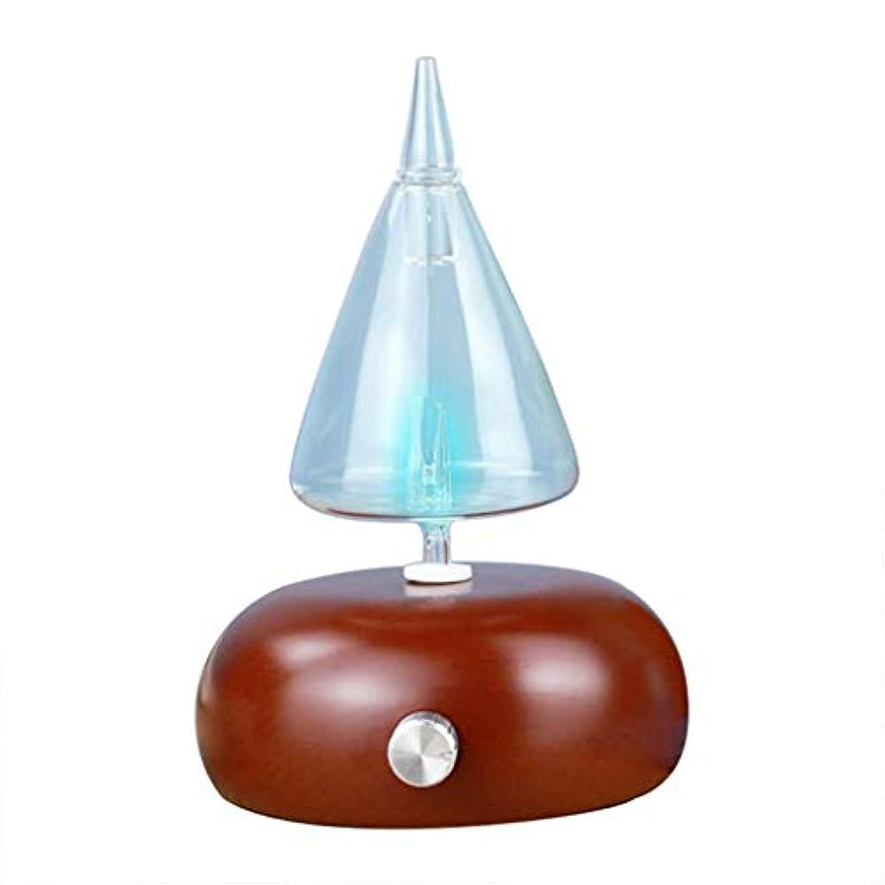 論争的生活バウンドアロマテラピーマシン、ガラスエッセンシャルオイルディフューザー、超音波加湿器、ウッドグレインアロマテラピーディフューザーマシン、LEDライトを変える7色