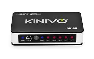 Kinivo 501BN プレミアム5-ポート ハイスピードHDMIスイッチ、赤外線リモートコントロール・AC電源アダプタ付 - 3D、1080p対応