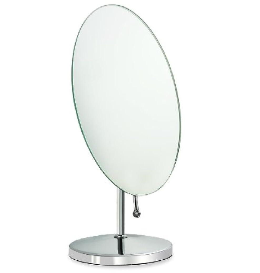 ツーリストタイピスト台風鏡 卓上鏡 化粧鏡 スタンドミラー 全方向可動式 取っ手付き鏡 大きめな楕円形