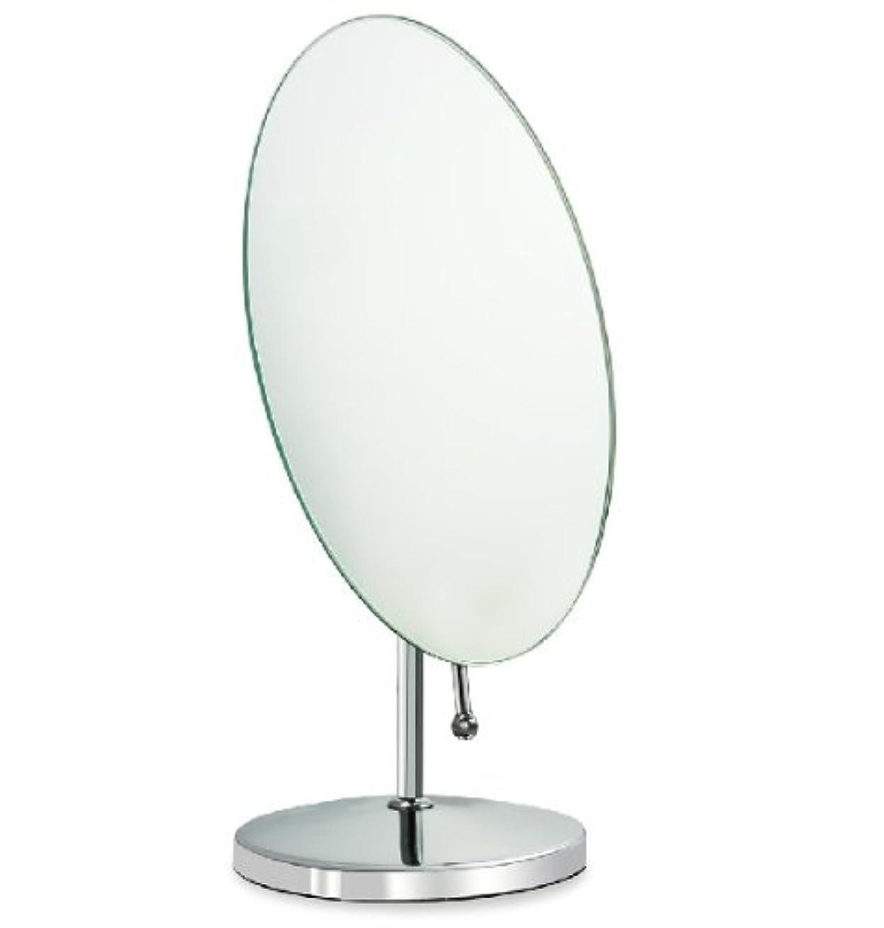 機関車ボーダー浜辺鏡 卓上鏡 化粧鏡 スタンドミラー 全方向可動式 取っ手付き鏡 大きめな楕円形